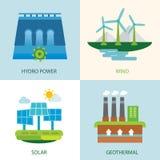 Uppsättning av förnybara energikällor royaltyfri illustrationer