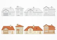 Uppsättning av förorts- hem också vektor för coreldrawillustration Arkivbild