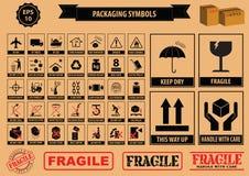 Uppsättning av förpackande symboler Arkivfoto