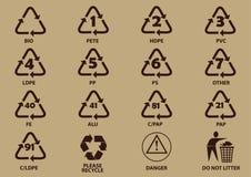 Uppsättning av förpackande symboler Arkivfoton