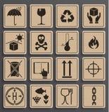 Uppsättning av förpackande symboler stock illustrationer