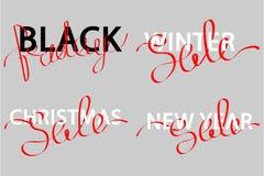 Uppsättning av försäljningen av bokstäver stock illustrationer
