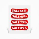 Uppsättning av försäljningen för prislappsymbolsklistermärke Arkivbilder