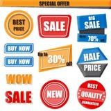 Uppsättning av försäljningen som är ny, rabatt, halv prisbaner Royaltyfri Bild