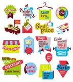 Uppsättning av försäljnings- och advertistmentrengöringsduksymboler Arkivbilder