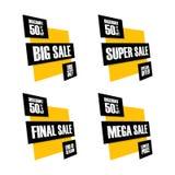 Uppsättning av försäljningsbaner Stor, toppen, sista och mega försäljning I helgen specialt erbjudande, lägst pris, slut av säson Arkivfoto