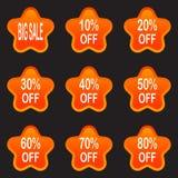 Uppsättning av försäljningsdesignbeståndsdelar som isoleras utan en skugga försäljning STI Arkivbild