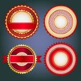 Uppsättning av försäljningsemblem, etiketter och klistermärkear i rött utan text Royaltyfria Bilder