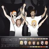 Uppsättning av fans som stöttar landslaget för sportannons Royaltyfri Foto