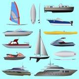 Uppsättning av fartyget Segla och motoriska fartyg stock illustrationer