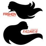 Uppsättning av fashionably emblemet med head kvinnor Fotografering för Bildbyråer
