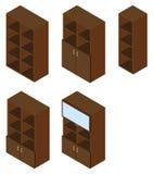 Uppsättning av fem bokskåp isometriskt Royaltyfri Bild