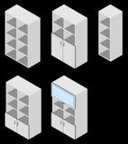 Uppsättning av fem bokskåp isometriskt Royaltyfri Fotografi