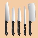 Uppsättning av fem knivar Sömlös blom- bakgrund Royaltyfri Bild