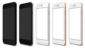 Uppsättning av fem smartphones polerade guld, ros, silver, svart och svart Arkivbilder