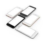 Uppsättning av fem smartphones polerade guld, ros, silver, svart och svart royaltyfri illustrationer