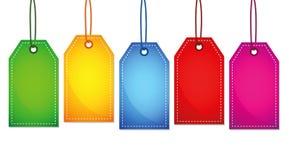 Uppsättning av fem till salu färgrika etiketter royaltyfri illustrationer