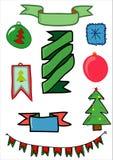 Uppsättning av ferieobjekt för jul och det nya året royaltyfri illustrationer