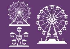 Uppsättning av Ferris Wheel från nöjesfält på purpurfärgade bakgrunder, illustrationer royaltyfri illustrationer