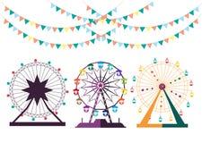 Uppsättning av Ferris Wheel från nöjesfältet, illustrationer royaltyfri illustrationer