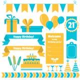 Uppsättning av festliga beståndsdelar för födelsedagparti Plan design Arkivfoto