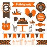 Uppsättning av festliga beståndsdelar för födelsedagparti Plan design Royaltyfria Bilder