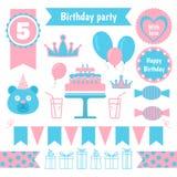 Uppsättning av festliga beståndsdelar för födelsedagparti Plan design Royaltyfri Foto