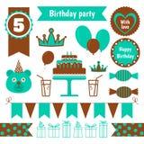 Uppsättning av festliga beståndsdelar för födelsedagparti Plan design Arkivbild
