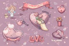 Uppsättning av festliga beståndsdelar och illustrationer för valentin dag Arkivbild