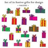 Uppsättning av 20 festliga gåvor för design Hand-dragit färgrikt I royaltyfri illustrationer