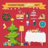 Uppsättning av festliga objekt för jul och nytt år Arkivfoto
