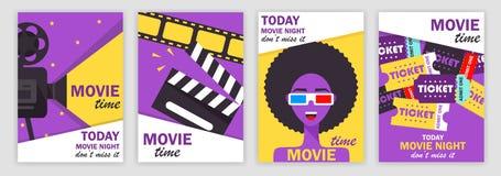 Uppsättning av filmaffischer, vektorillustration stock illustrationer