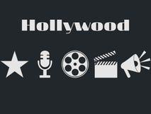 Uppsättning av filmdesignbeståndsdelar och biosymboler Hollywood symbolsuppsättning Royaltyfri Bild