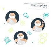 Uppsättning av 3 filosofer royaltyfri illustrationer