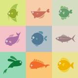 Uppsättning av fisksymboler vektor illustrationer