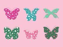 Uppsättning av fjärilar (blommor) vektor illustrationer