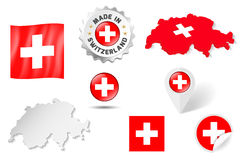 Uppsättning av flaggor, översikter etc. av Schweiz - på vit Royaltyfri Bild