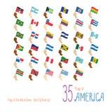 Uppsättning av 35 flaggor av Amerika Räcka att lyfta nationsflaggorna av 35 länder av Amerika vektor illustrationer