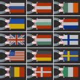Uppsättning av flaggor av olika länder Arkivfoton