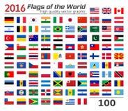 Uppsättning av flaggor av olika länder Arkivbilder