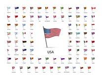 Uppsättning av flaggor på en pol med skugga på vit Arkivfoto