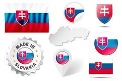 Uppsättning av flaggor, symboler etc. av Slovakien - på vit Arkivbild