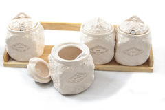 Uppsättning av flaskor för blandade kryddor arkivbild
