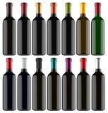 Uppsättning av flaskor för vin 3D vektor illustrationer