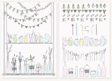 Uppsättning av flaskor, krus, girlander, lampor och flaggor vektor illustrationer