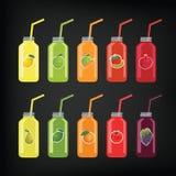 Uppsättning av flaskor med sugrör med frukt och grönsakfruktsaft royaltyfri illustrationer