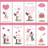 Uppsättning av flayers för valentindag royaltyfri illustrationer