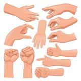 Uppsättning av flera händer vektor illustrationer
