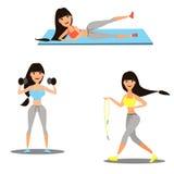 Uppsättning av flickor som är förlovade i sportsliga aktiviteter, yoga, kondition vektor royaltyfri illustrationer