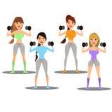Uppsättning av flickor som är förlovade i sportsliga aktiviteter, yoga, kondition vektor vektor illustrationer
